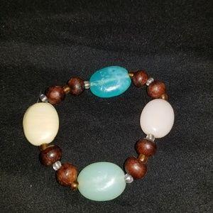 Multi Stone & Wood Bracelet
